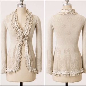 Guinevere Oatmeal Tan Ruffle Cardigan size large